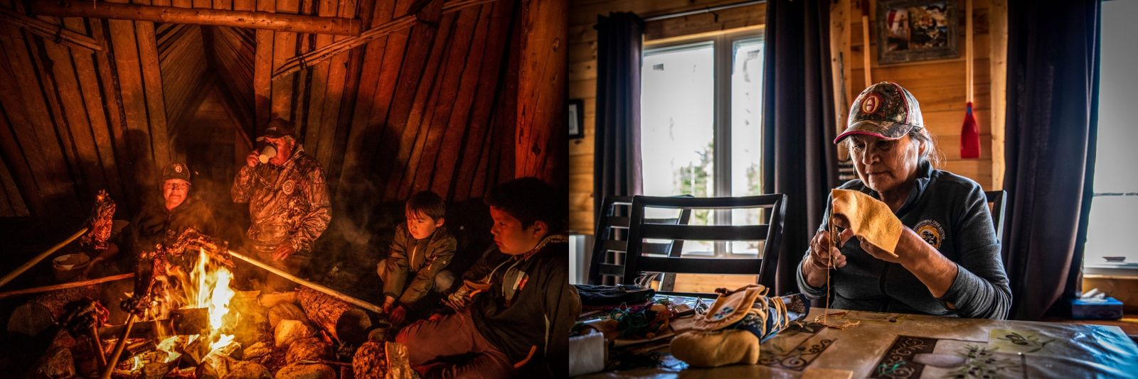 Left: The Bossum family roasts and eats moose over a fire inside a traditional Cree building ...