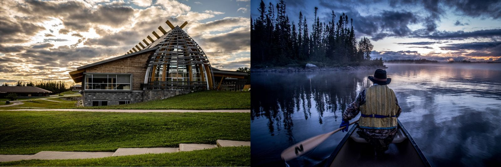 Left: A view of the Aanischaaukamikw Cree Cultural Institute in Ouje-Bougoumou, Québec.