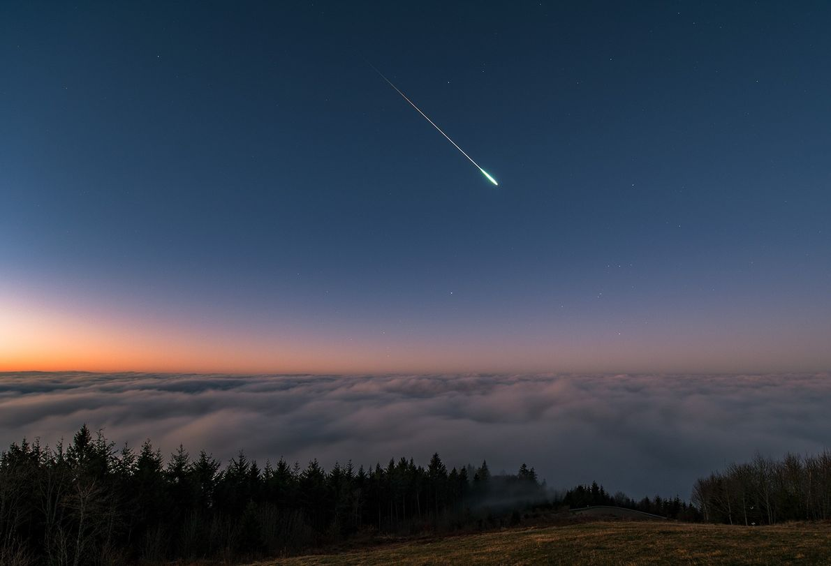 A long-exposure image shows a brilliant Leonid meteor in Hochblauen, Germany, on November 17, 2018.