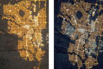 These two satellite images of Calgary, Canada, were taken from the International Space Station in 2010 ...