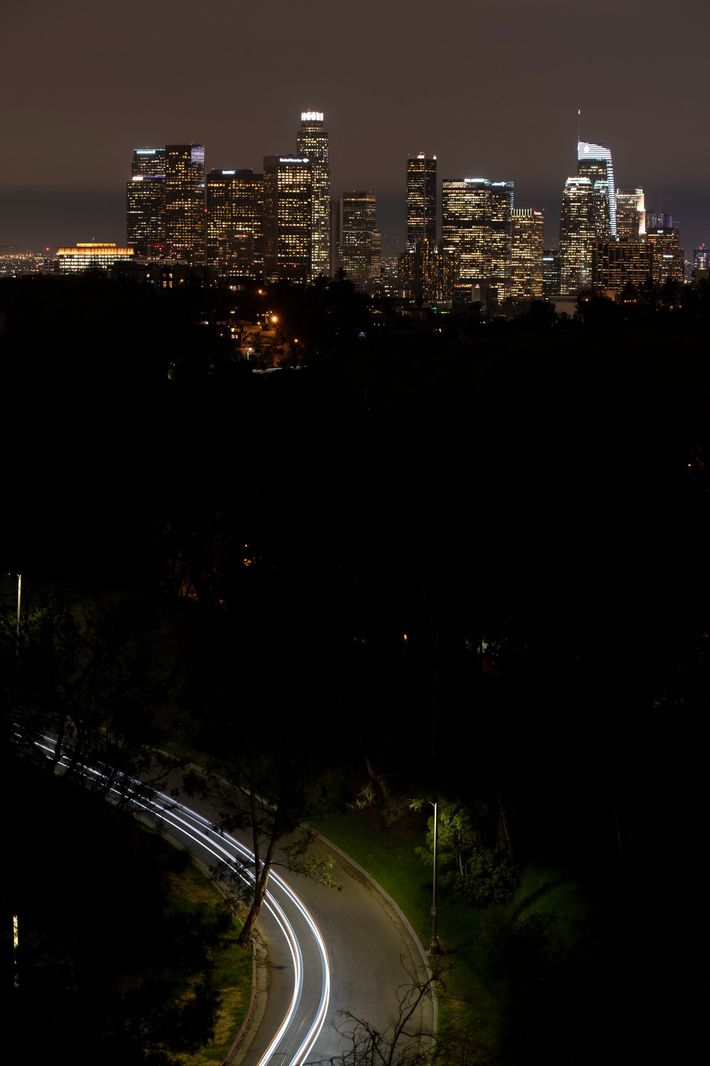 Artificial sky glow caused by light pollution is especially intense over large metropolitan areas like downtown ...