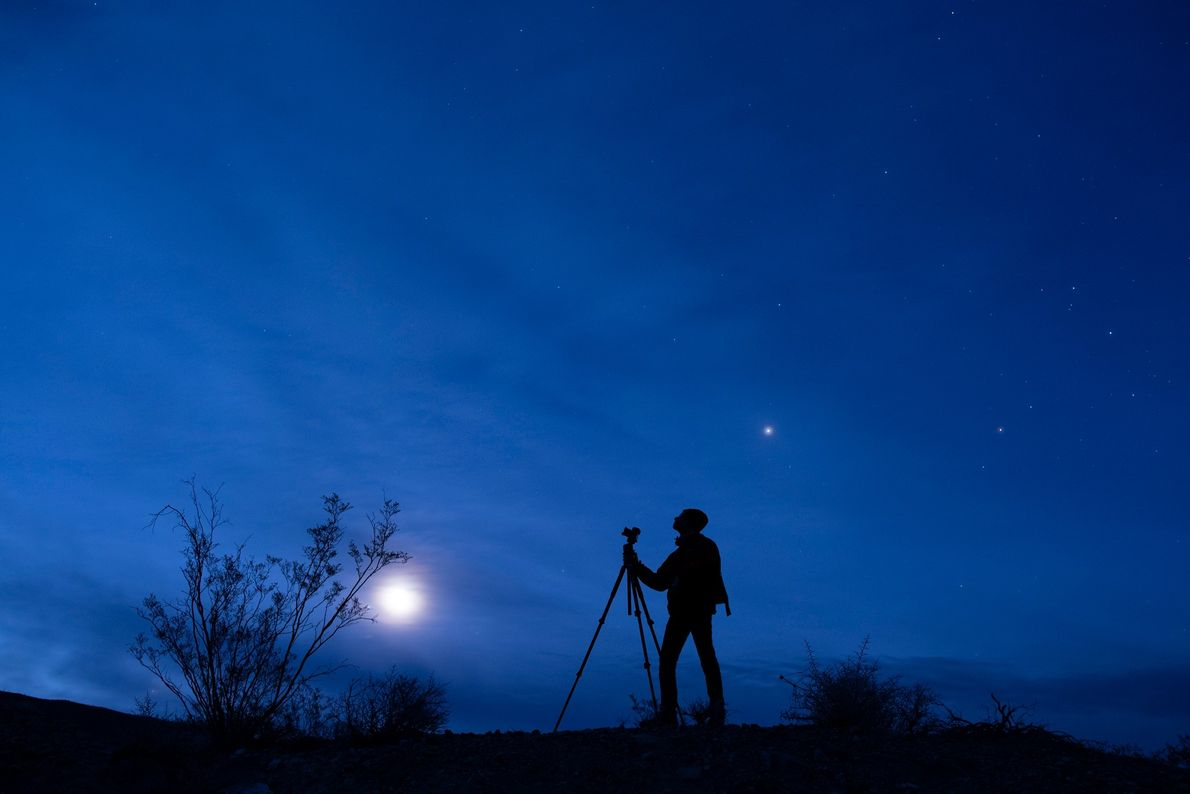 Astrophotographer Oshin Zakarian enjoys a view of Venus, Jupiter, and our moon in the desert twilight. ...