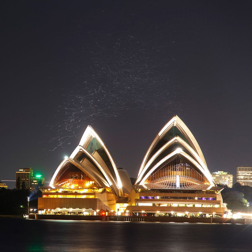 A long-exposure image of the Sydney Opera House reveals the ghostly trails of birds flying above ...