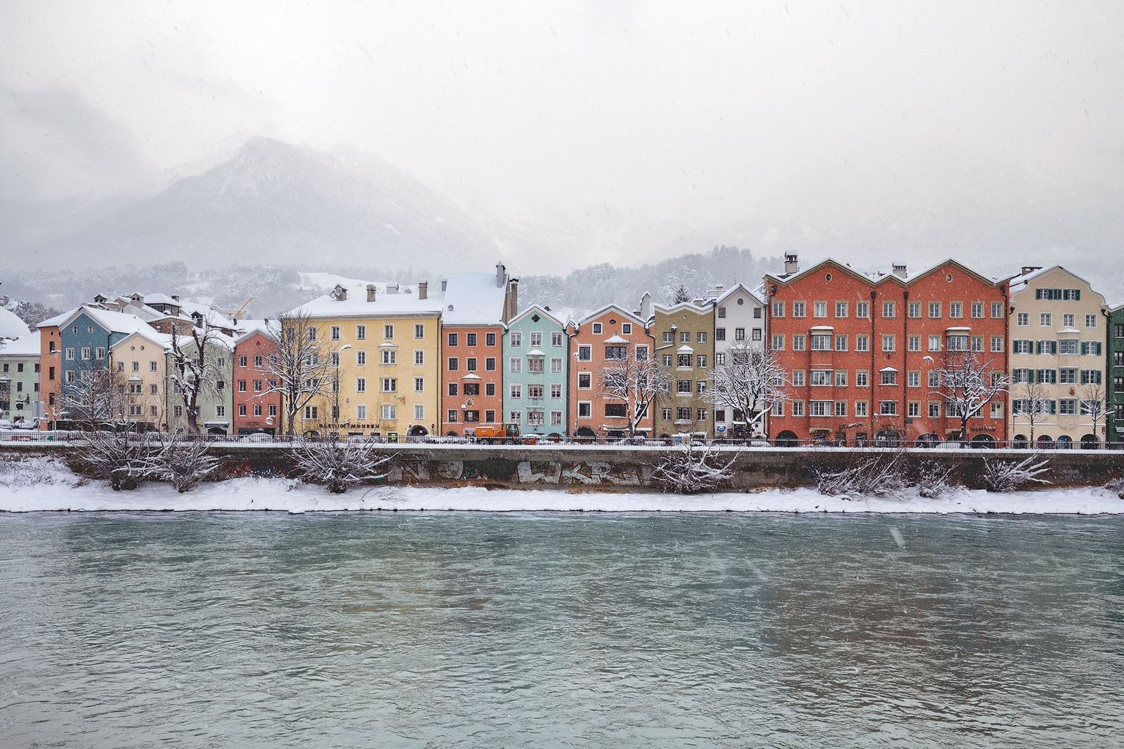 Innsbruck's waterfront homes abound in a variety of colours.