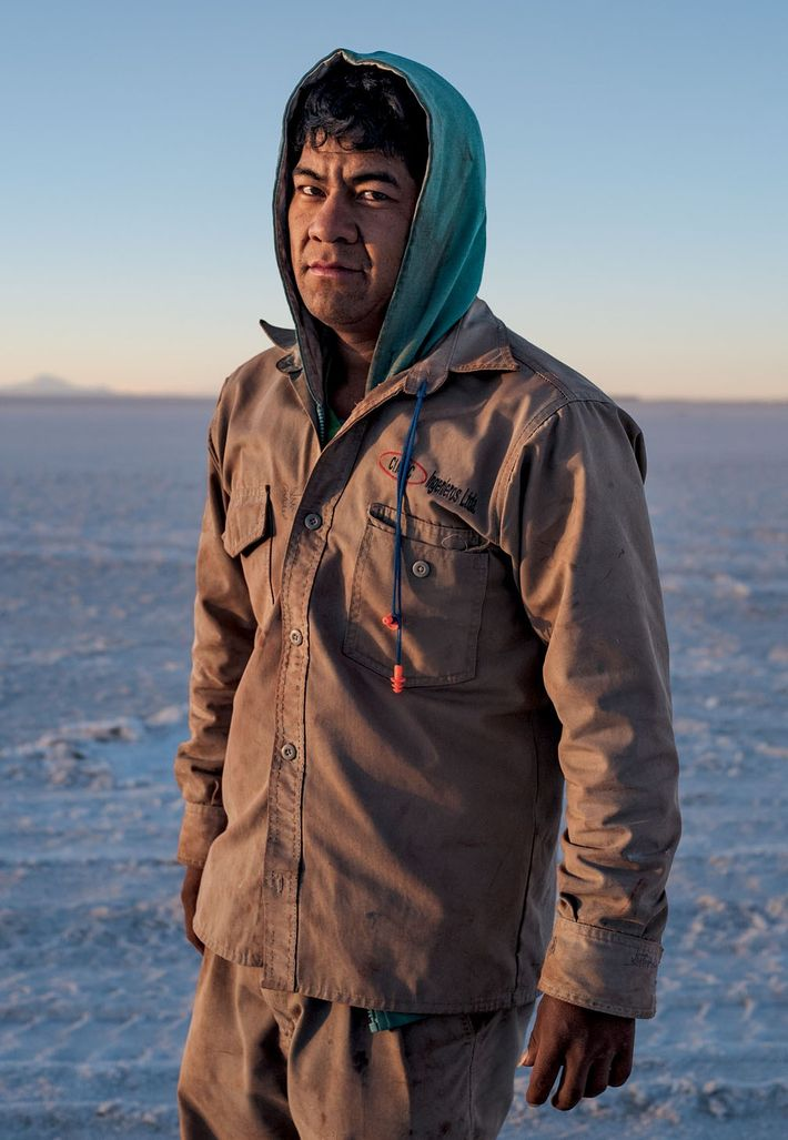 José Edmundo Arroyo, a construction worker at the lithium pilot plant, finishes his shift. The local ...