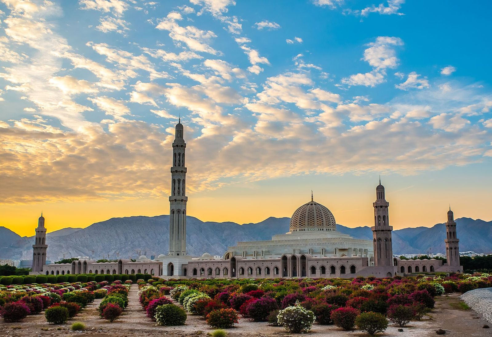The Grand Mosque in Muscat can accommodate 20,000 worshippers and boasts the biggest chandelier in the world.