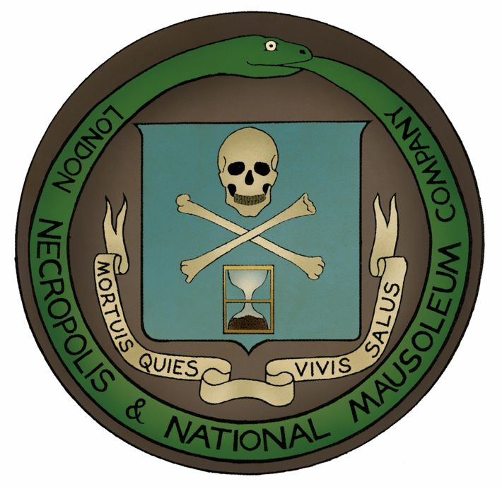 "The seal of the London Necropolis Company. The motto means ""A peaceful death, a good life."""