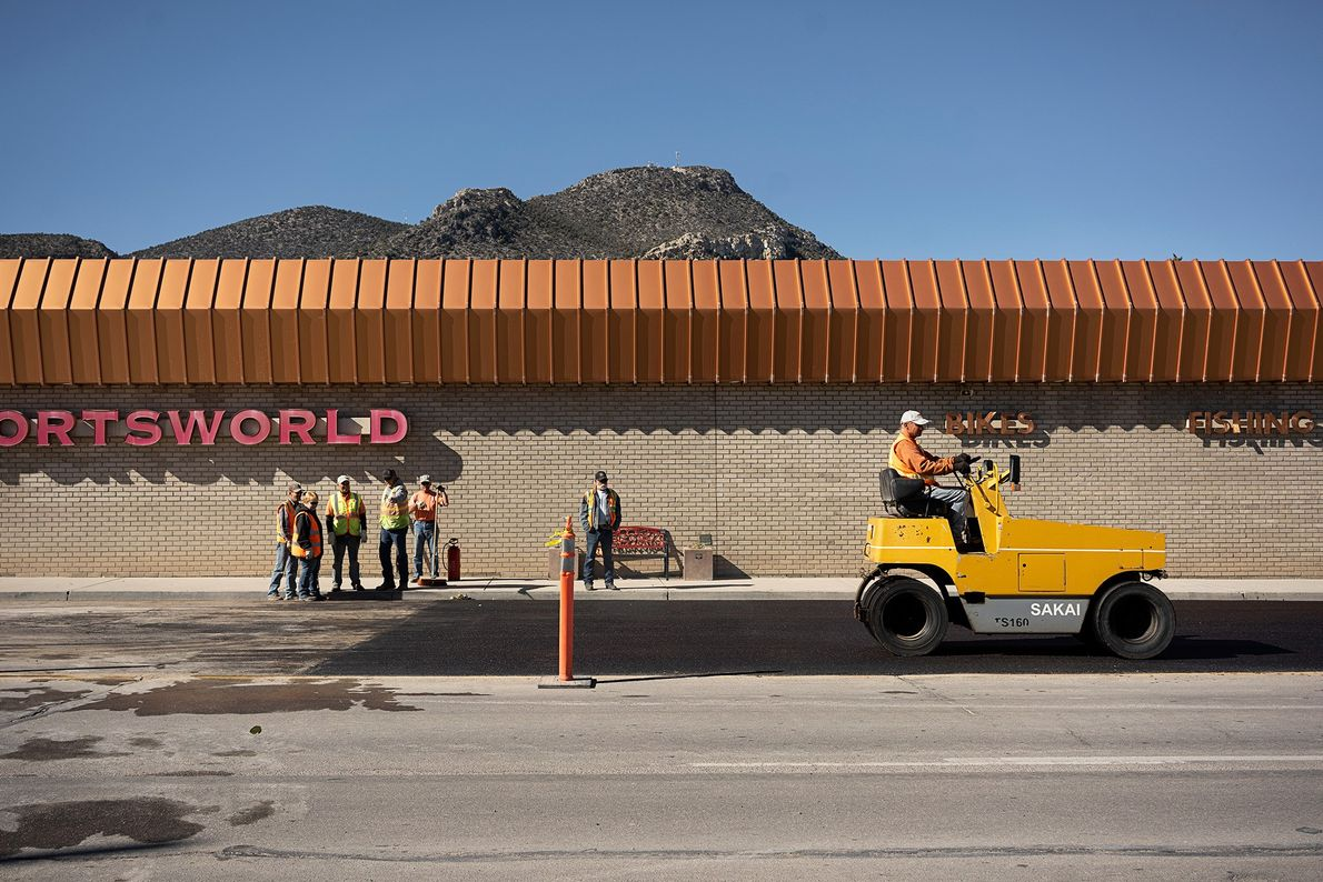 Construction workers complete roadwork on Route 50 in Ely, Nevada.