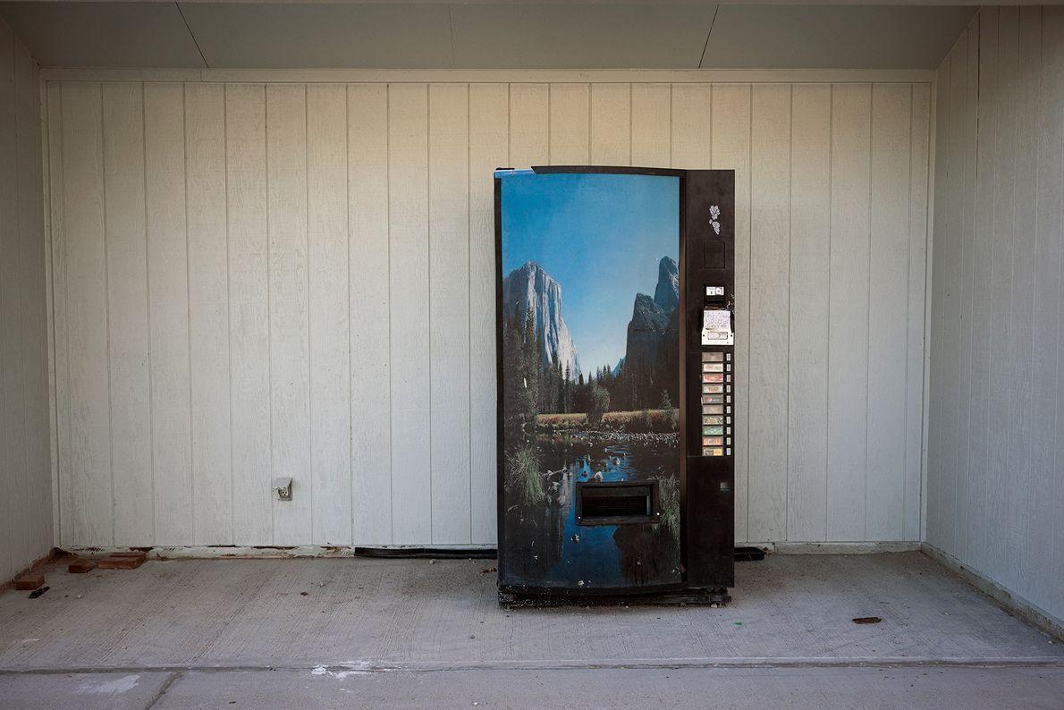 A lone soda machine sits in a gas station in Baker, Nevada, near the Utah border.