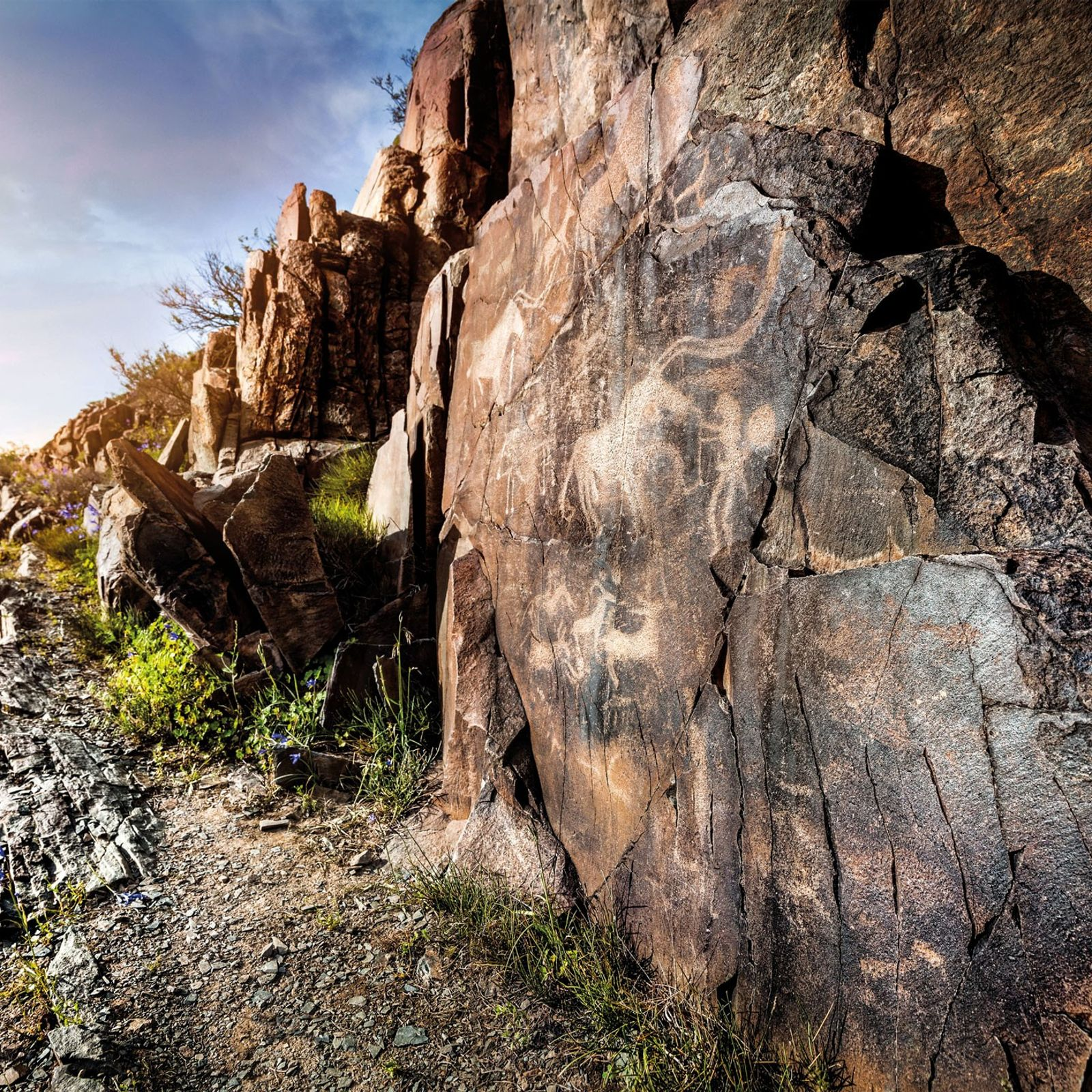 The long horns of a horse dominate a Tamgaly petroglyph that dates to the Bronze Age. ...