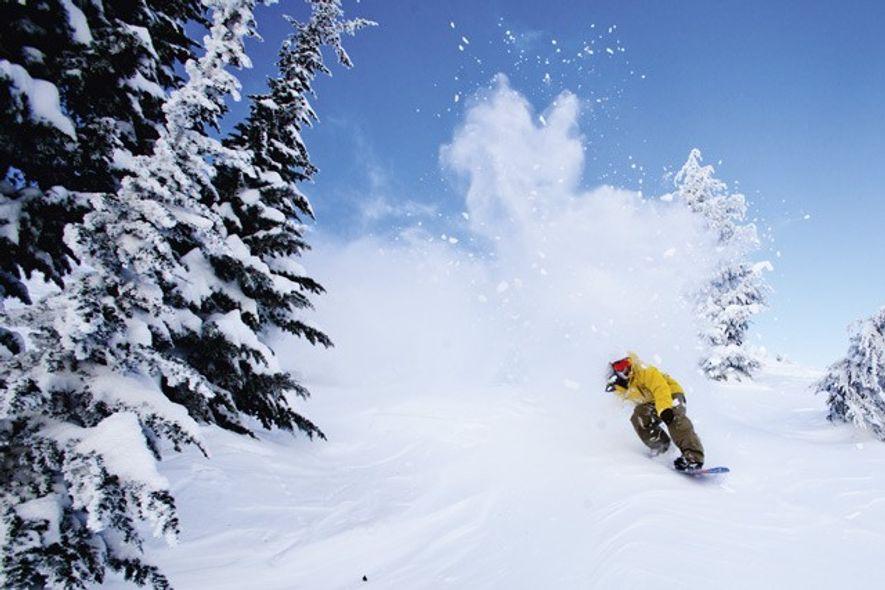 Snowboarder on Mammoth Mountain