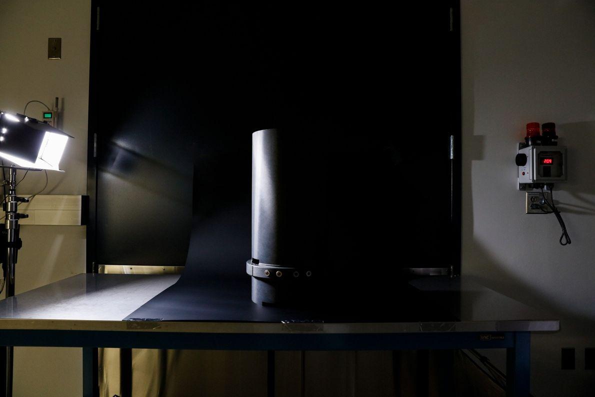 LORRI's graphite baffle blocks stray light from getting inside the highly sensitive instrument.