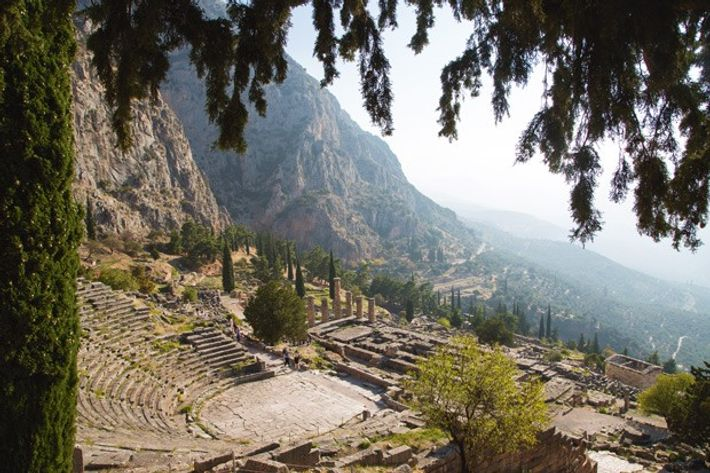 The ruins of a theatre in the ancient city of Delphi, Greece.