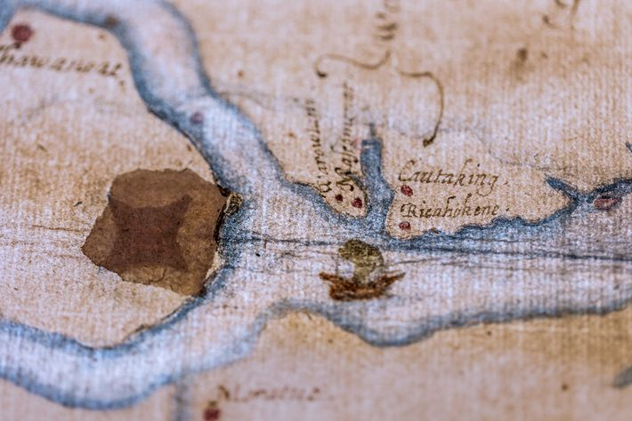A fresh clue to the lost colonists' fate emerged when curators backlit this 16th-century map of ...