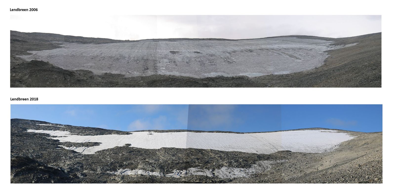 The Lendbreen ice patch is melting rapidy, as shown by photos taken in 2006 (above) and ...