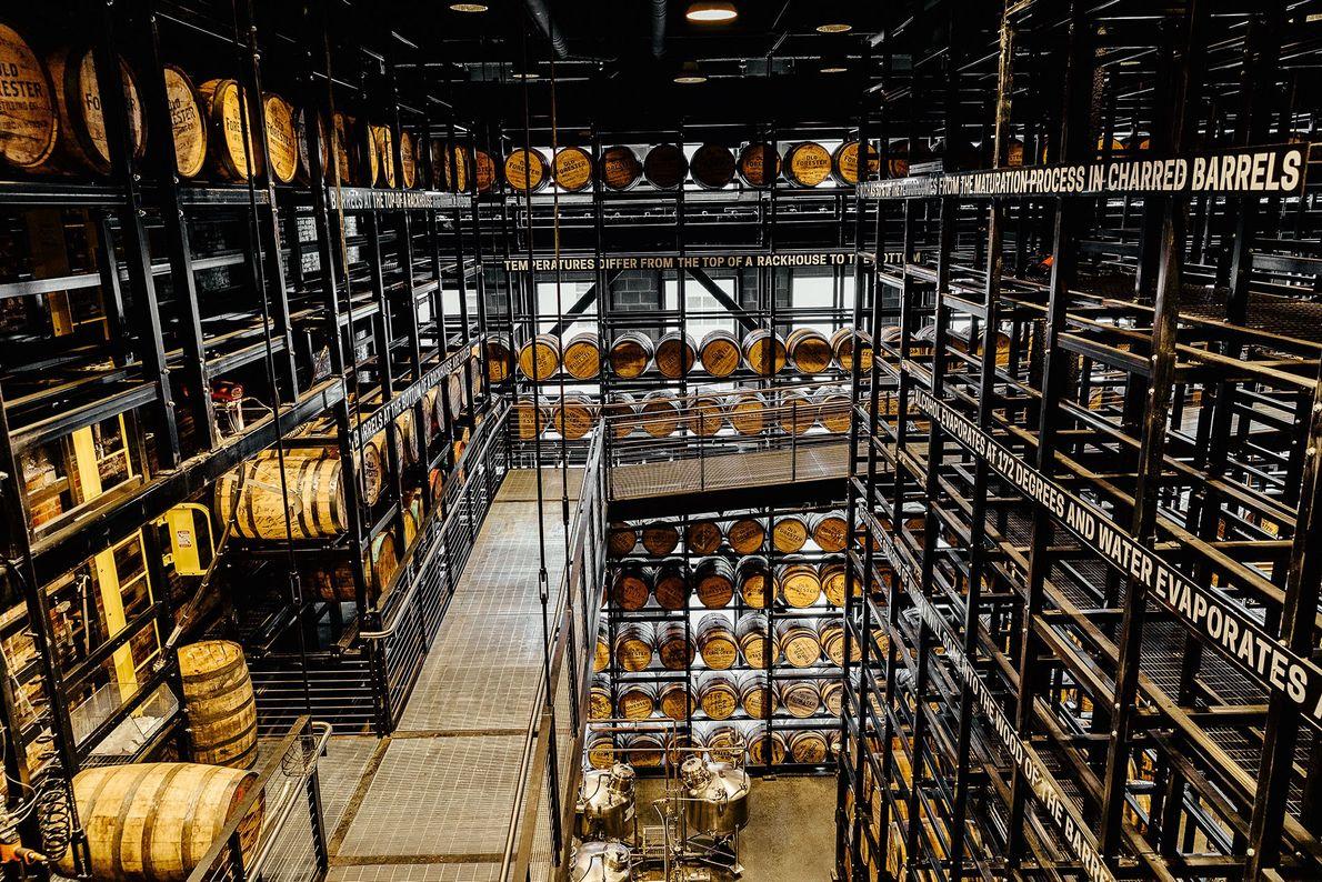 Distillery with barrels of bourbon