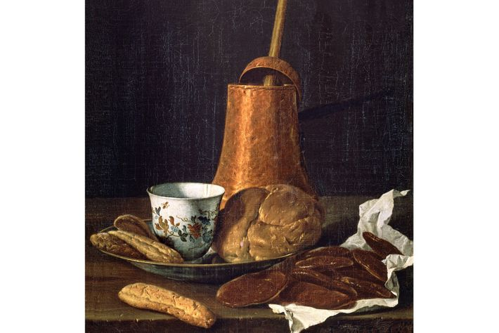 A copper chocolate pot sits surrounded by baked goods for dipping in this 18th-century still life ...