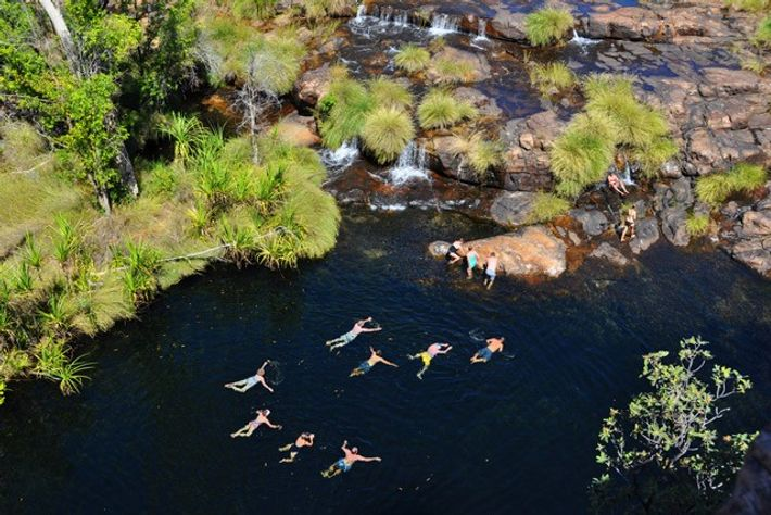 Stopping for a swim on a Kimberley Quest II cruise, Kimberley, Australia. Image: Kimberley Quest