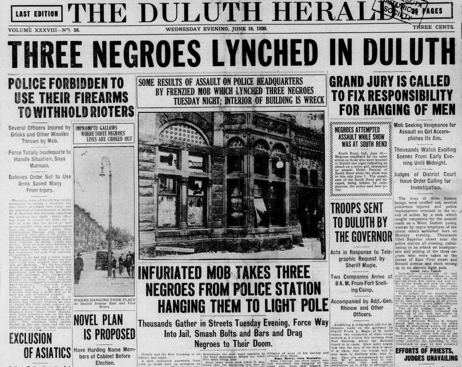 The Duluth Herald reported the horrors of a June 15, 1920 lynching of three black men ...