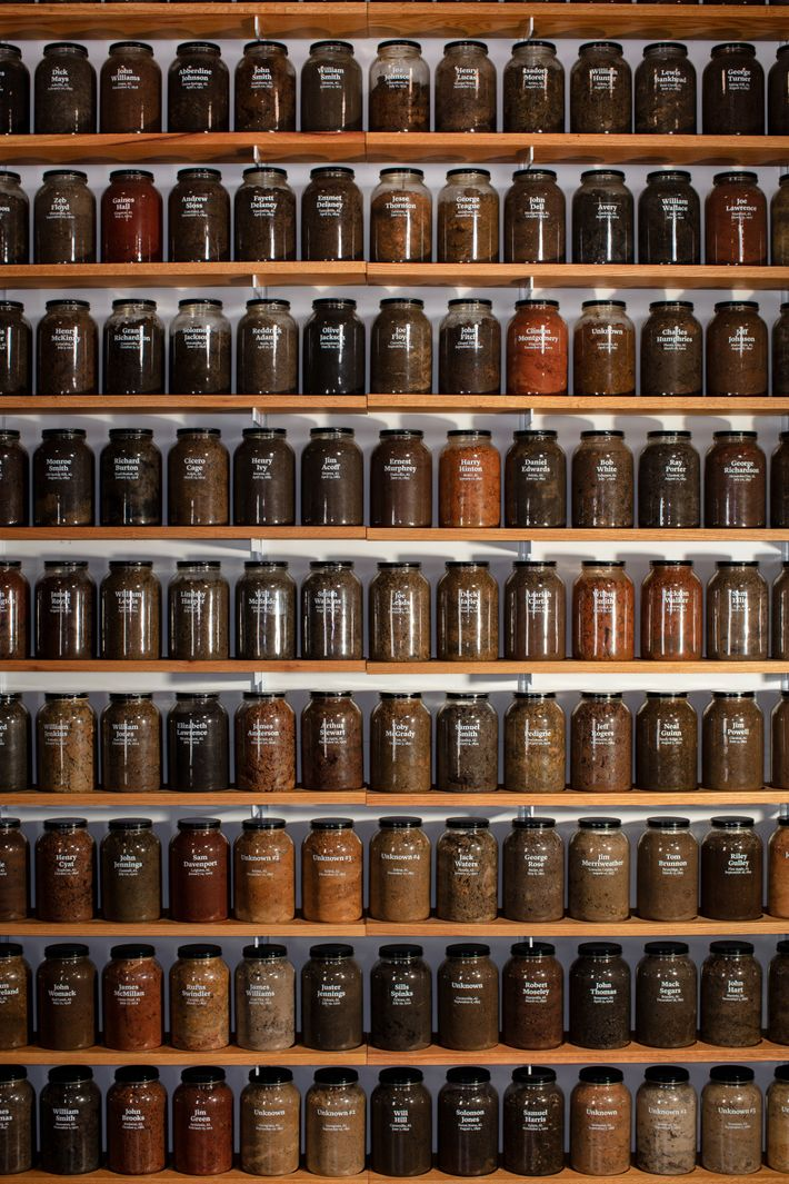 More than 800 jars of soil from lynching sites across the country are exhibited in the ...