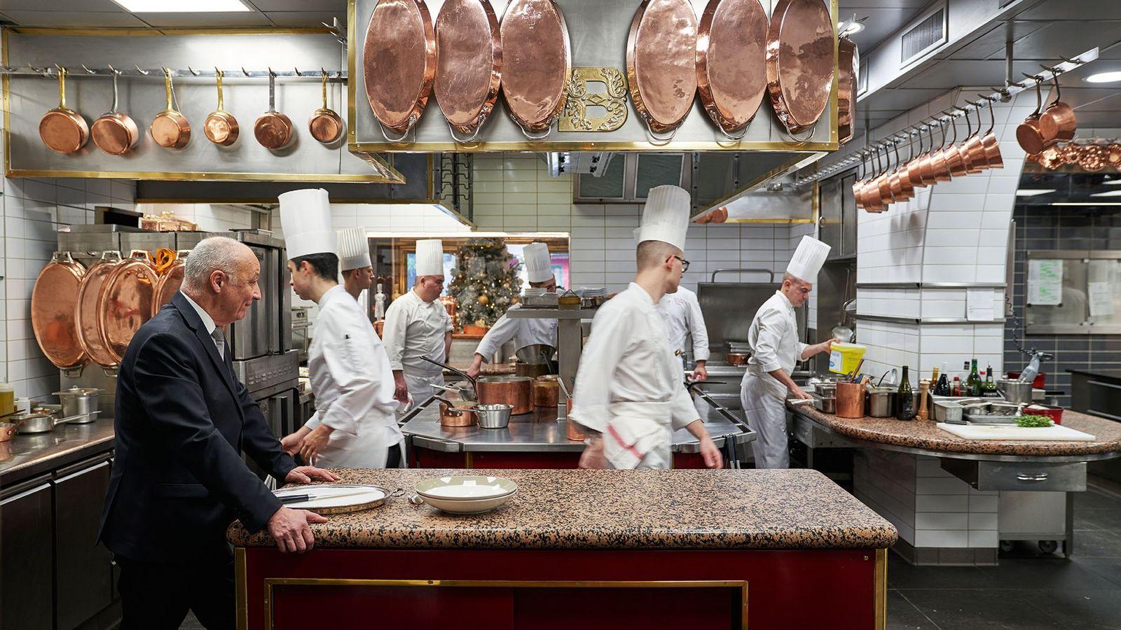 The kitchen at the legendary restaurant L'Auberge du Pont de Collonges.