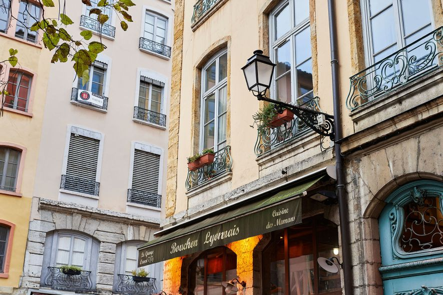 A typical street in the gastronomic city of Lyon.