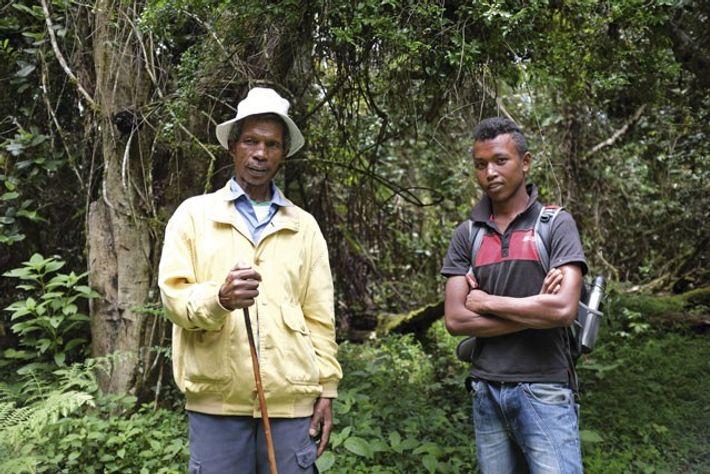 Forest guides Toussaint Raharimanana and Sesen Andriasifaliana, Anjozorobe-Angavo Forest Corridor. Image: Emma Gregg