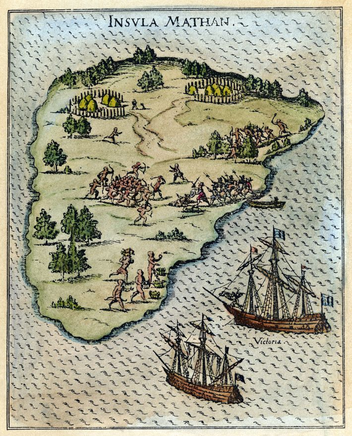 In March 1521 the expedition reached the Philippines, where relations with the indigenous people (as depicted ...