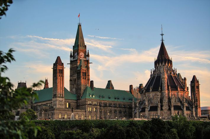 View of the parliament buildings from Major's Hill Park in downtown Ottawa.