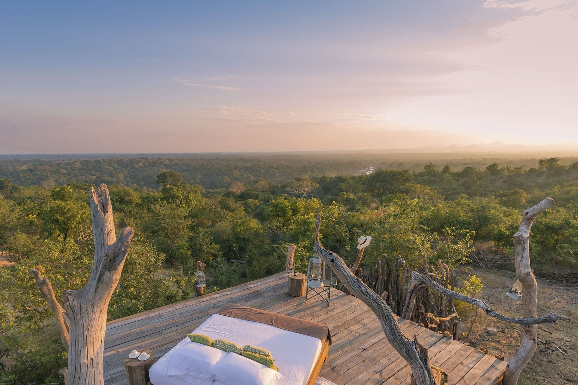 The 'star bed' at Mkulumadzi Lodge in Majete Wildlife Reserve