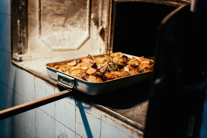 Family lamb dish cooked in bakery oven