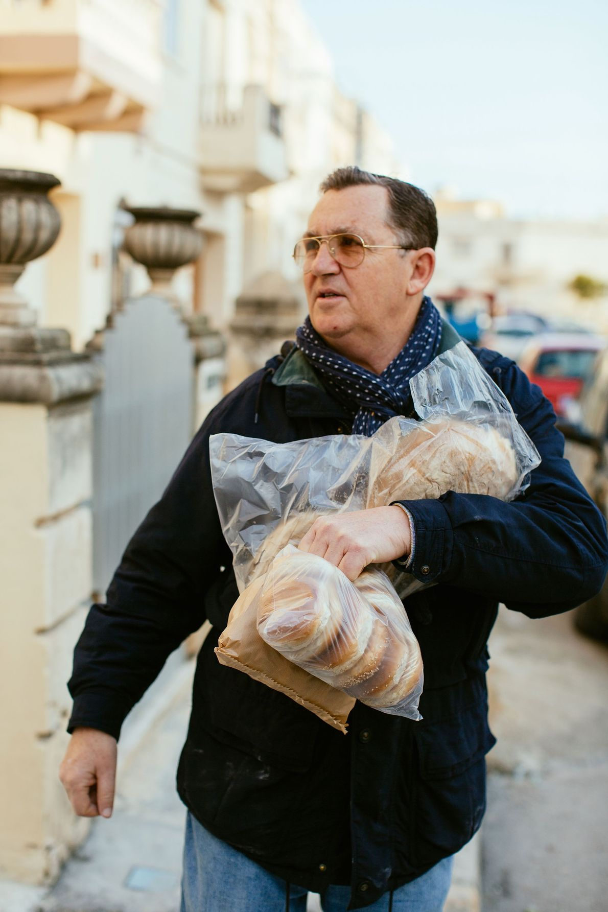 Julian stocks up on bread for the family meal