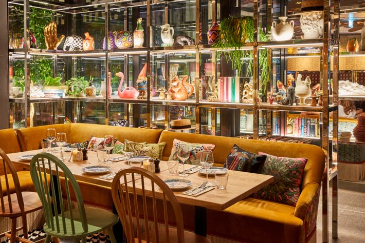 """The decor is """"deliciously kitsch"""" at Mama Shelter, with touches such as tasselled lampshades and quirky ornaments."""