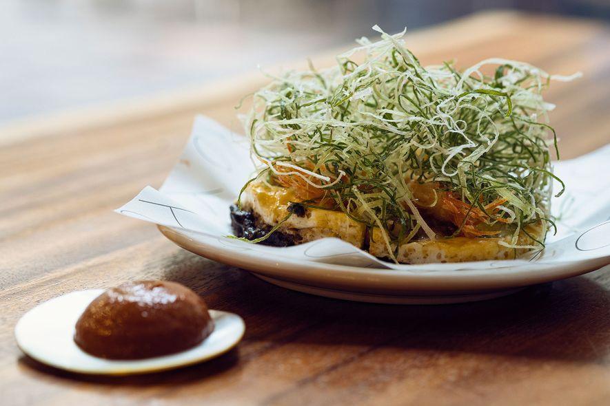 Tortang talong with banana ketchup at Toyo Eatery.