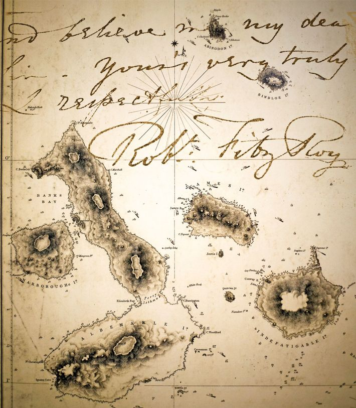 Admiralty map of the Galápagos prepared from data provided by Captain Robert Fitzroy, whose signature and ...