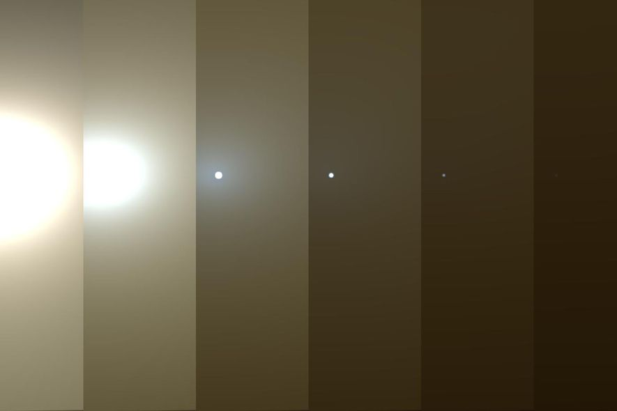 This series of images shows simulated views of a dust-darked martian sky blotting out the sun ...