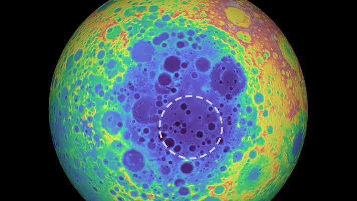 This false-color image shows the topography on the far side of the moon, with highs in ...