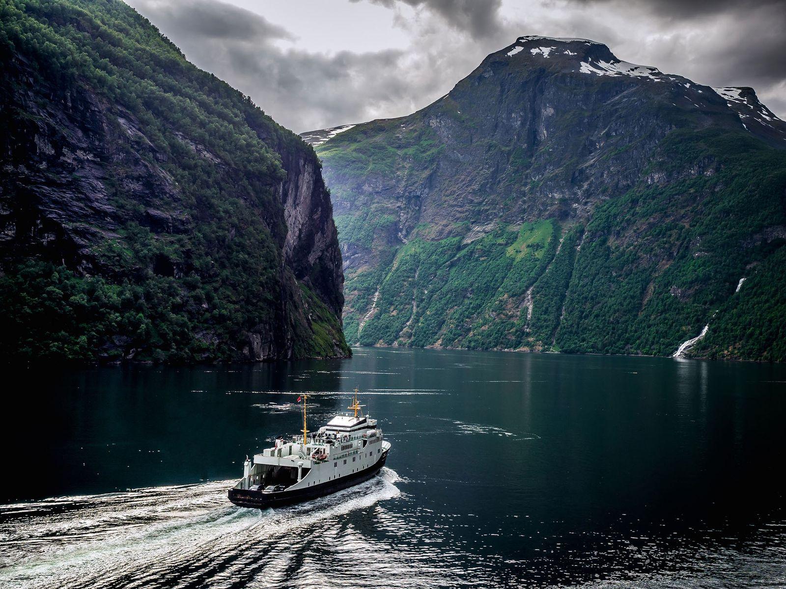 Crossing the Scandinavian fjords.