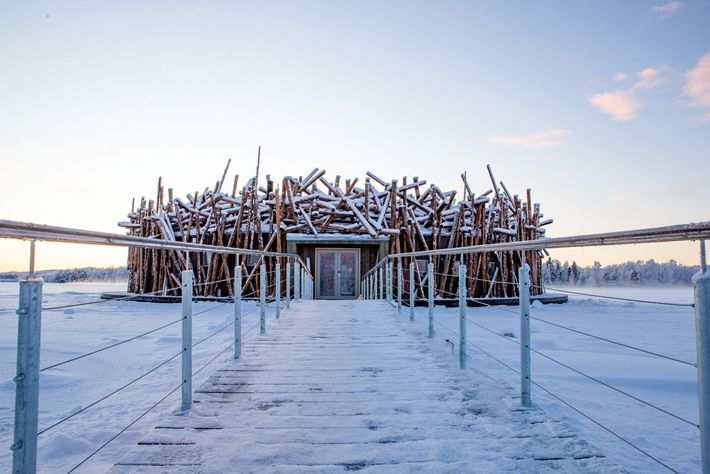The design of the main building at Arctic Bath was inspired by north Sweden's former timber ...