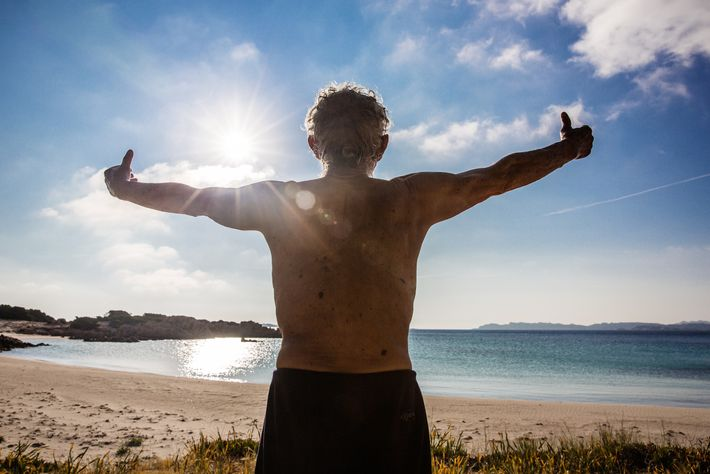 Morandi practises tai chi on the beach in the morning, absorbing the sun's rays and inhaling ...