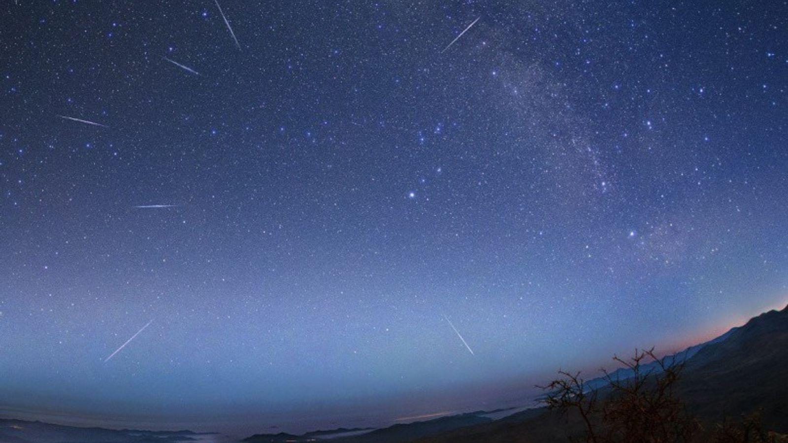 Eta Aquarid meteors race across the sky over the Atacama Desert in Chile during the 2015 ...