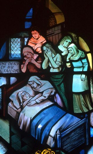 The Mompasson memorial window in Eyam's parish church, depicting a citizen of Eyam succumbing to the plague.