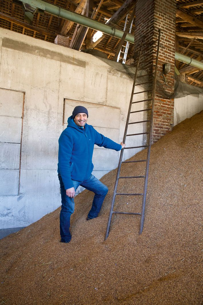 Francesco stands next to a mountain of raw rice, ready to convert it into one of ...