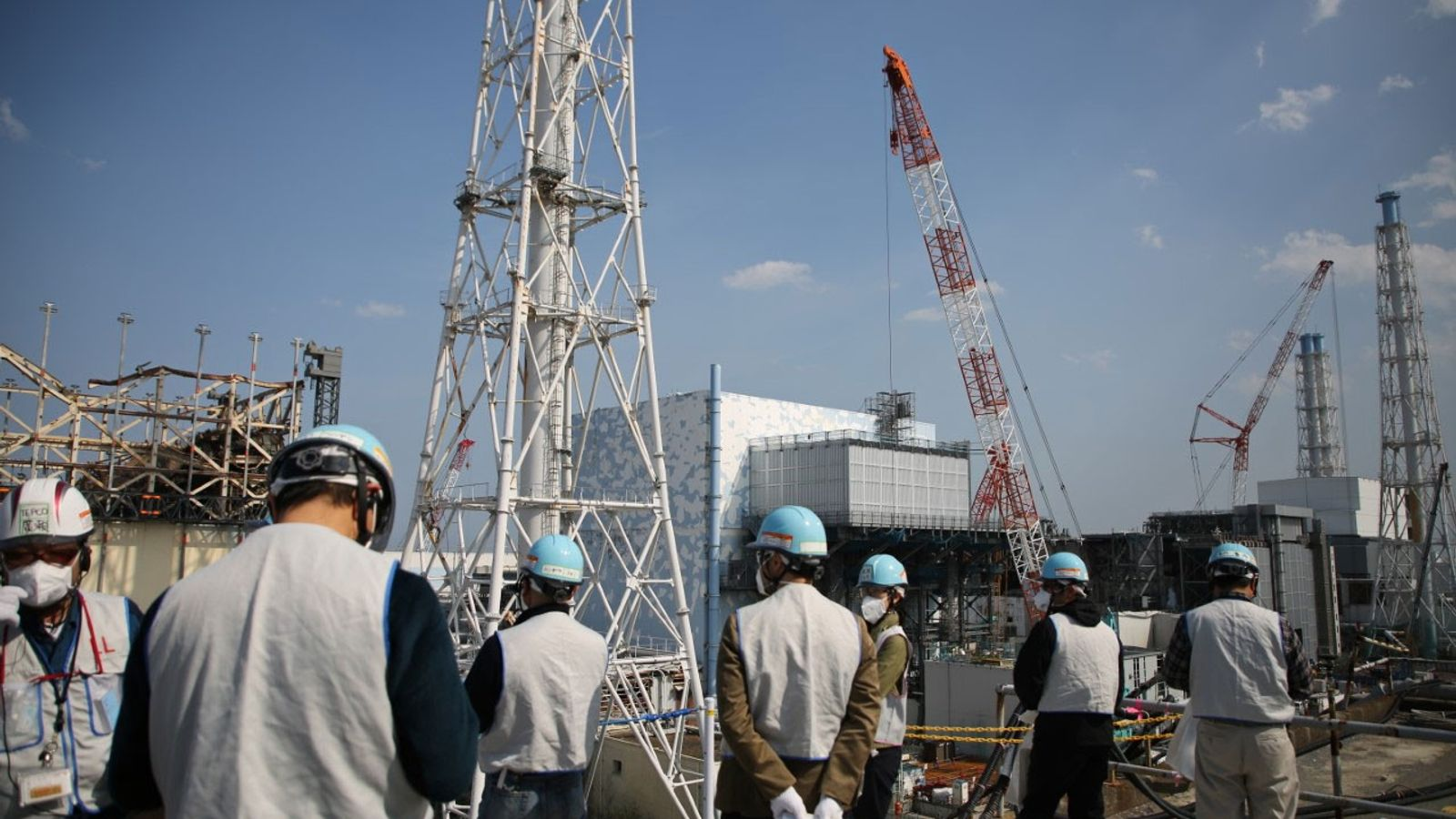 Reporters visit the crippled Fukushima Daiichi nuclear plant on April 14, 2017, in northeastern Japan. The ...