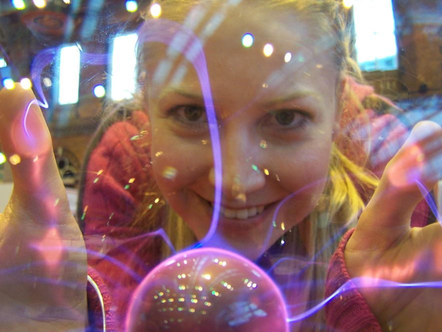 """""""We are shaped by our failures as well as our successes."""" Melanie Windridge with a plasma lamp. Unlike nuclear fission, nuclear fusion is the process by which the sun continuously burns - and offers a potentially limitless source of clean energy if scientists can unlock its potential."""