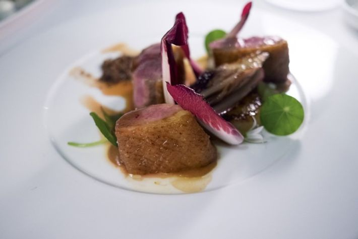 Duck breast, radicchio, roasted onions, pancetta and liver crumble, Terminus Restaurant. Image: Robin Riddell
