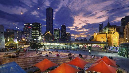 Federation Square and Melbourne skyline