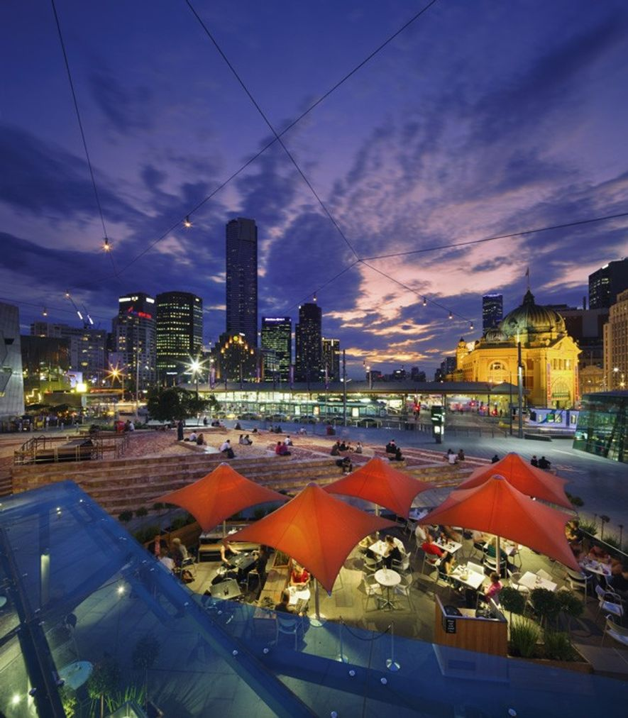 Federation Square and Melbourne skyline