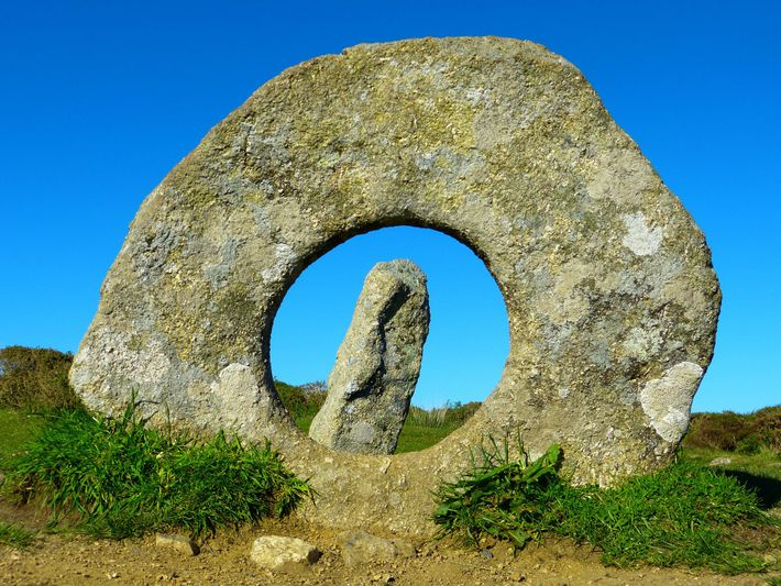 Men-an-Tol's circular stone and pillars are believed to have once been three of 19 standing stones ...