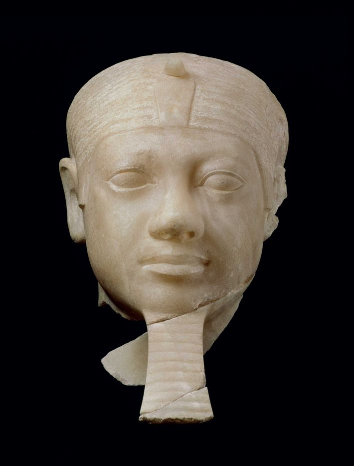Alabaster head of Menkaure, seen at the Museum of Fine Arts, Boston. It was discovered in ...